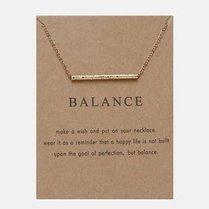 "New ""Balance"" Pendant Chain Gold Tone Necklace"